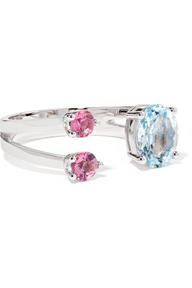 18-karat white gold, aquamarine and tourmaline ring