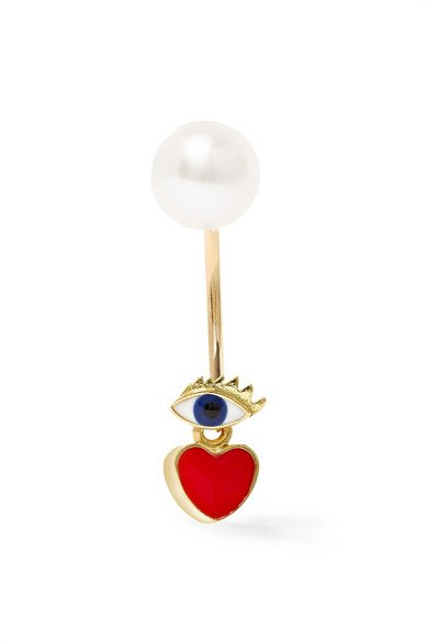 18-karat gold, pearl and enamel heart and eye earring