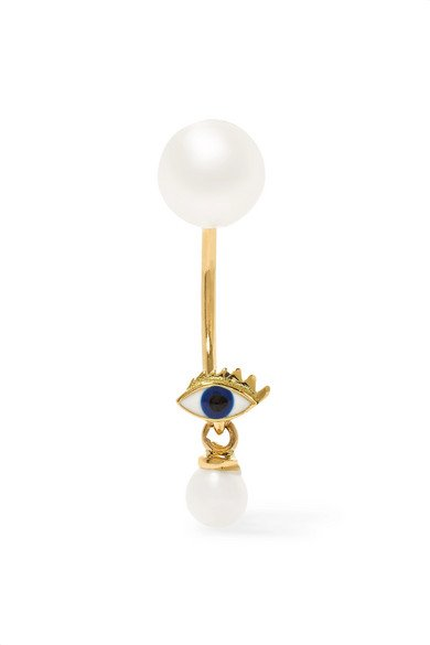 18-karat gold, pearl and enamel eye earring