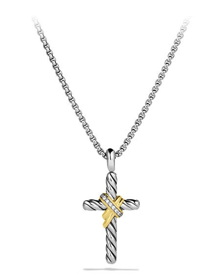 X Cross with Diamonds and Gold on Chain