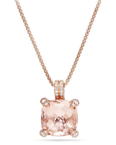 Châtelaine 18k Rose Gold Pendant Necklace with Morganite & Diamonds