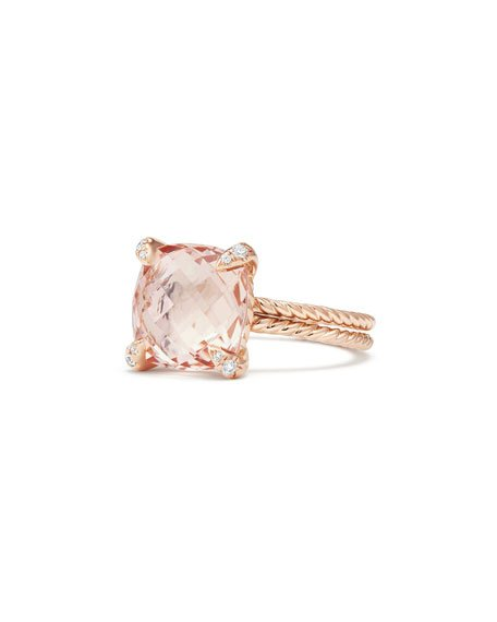 Châtelaine 11mm Rose Gold Ring with Morganite & Diamonds