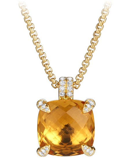 Châtelaine Pendant Necklace in 18K Gold with Citrine & Diamonds