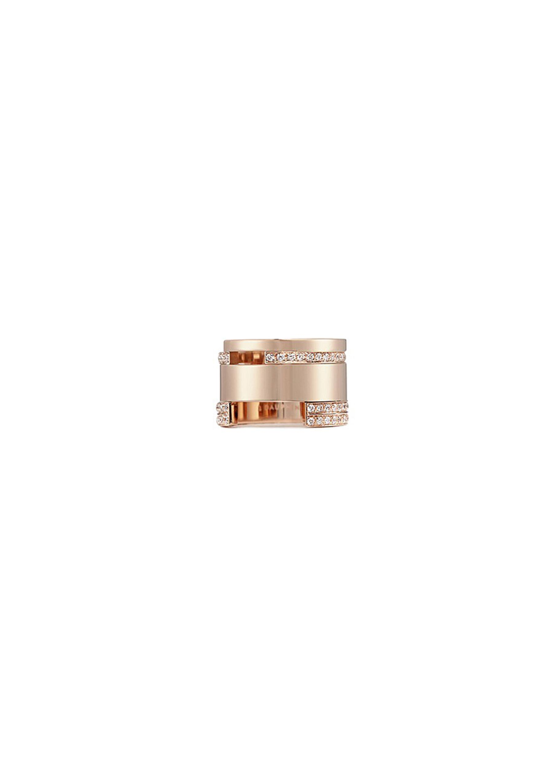 DIAMOND 18K ROSE GOLD WIDE CUTOUT RING