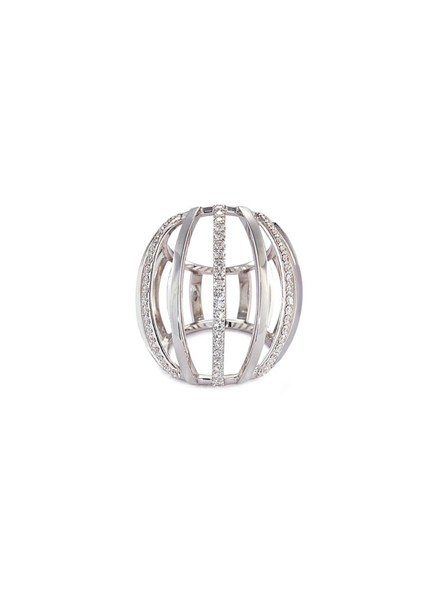 DIAMOND 18K WHITE GOLD CAGE RING