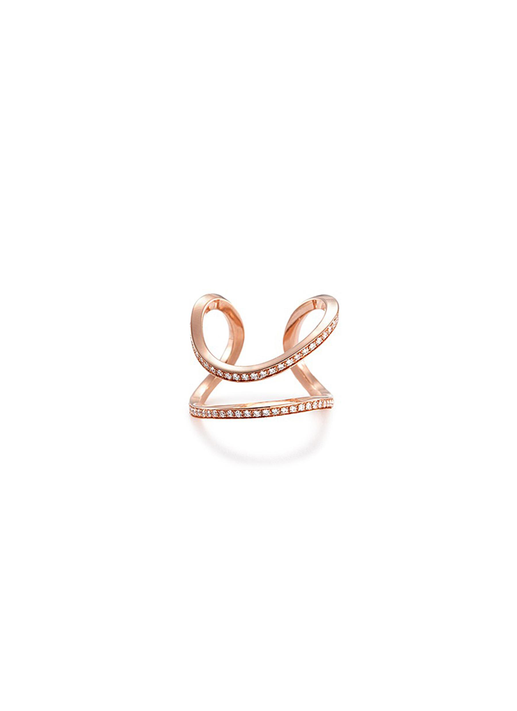 'SERPENTINE' DIAMOND 18K ROSE GOLD OPEN RING