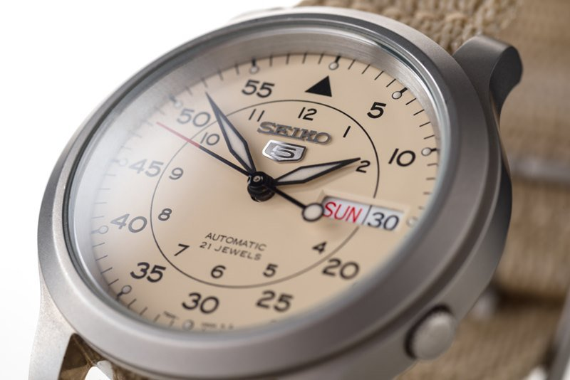 Seiko 5 Beige Military Watch