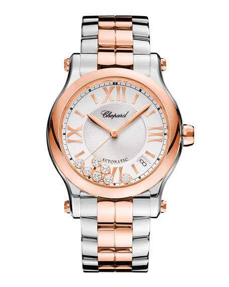 Happy Sport Two-Tone Watch with Diamonds