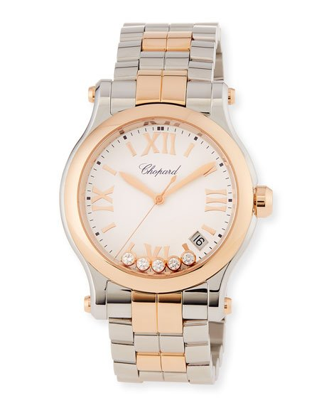 Happy Sport 18k Rose Gold & Stainless Steel Watch