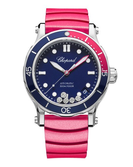 Happy Ocean Sport Medium Watch with Diamonds - Blue Red