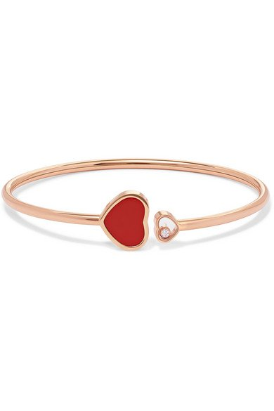 Happy Hearts 18-karat rose gold, diamond and red stone cuff