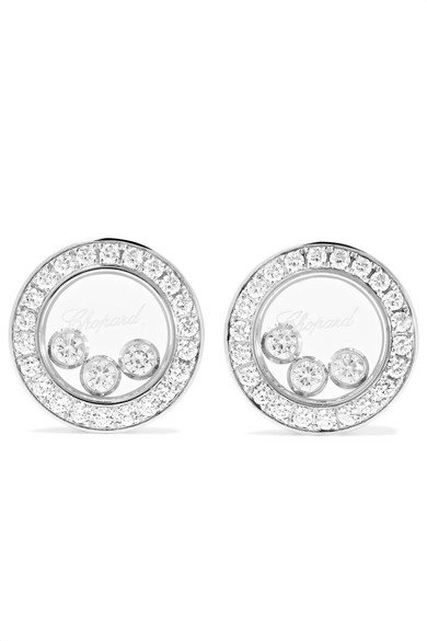 Happy Diamonds 18-karat white gold diamond earrings