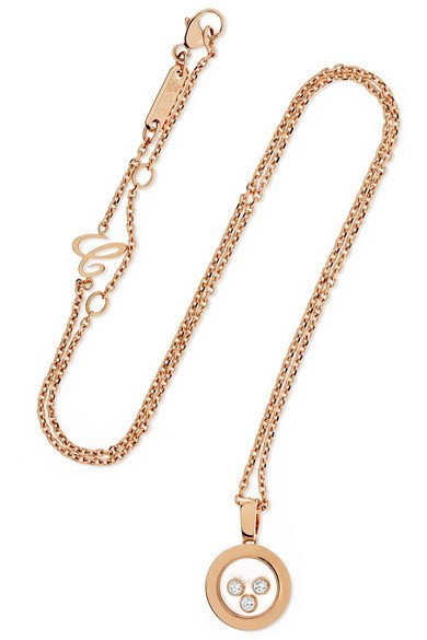 Happy Diamonds 18-karat rose gold diamond necklace