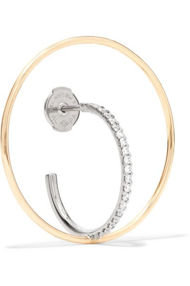 Saturn 18-karat gold diamond hoop earring