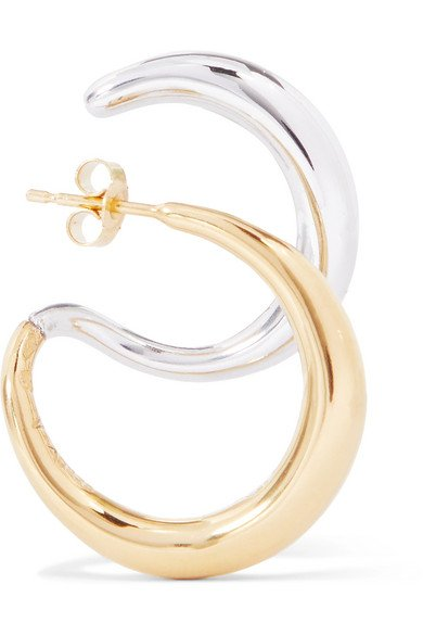 Gold vermeil and silver earring
