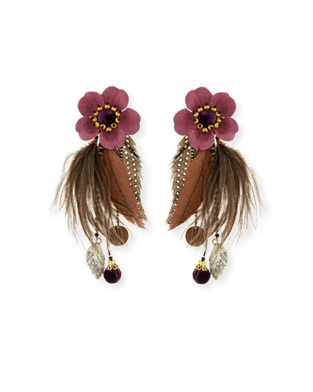 Laelia Clip-On Earrings with Feathers