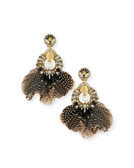 Carambola Feather Clip-On Earrings