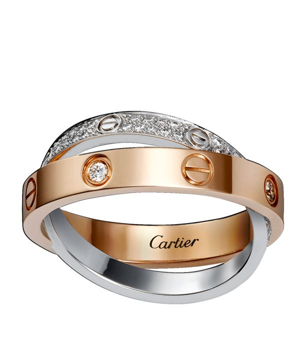 White and Pink Gold Diamond-Paved Love Ring