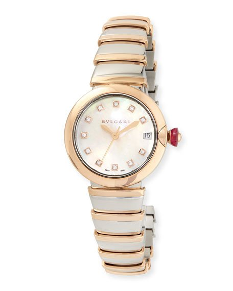 LVCEA Watch with Diamonds, Two-Tone