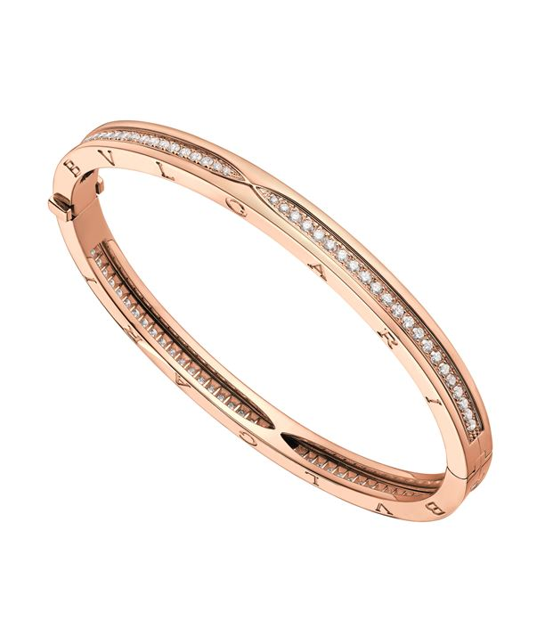 Rose Gold Pavé Diamond B.zero1 Bangle