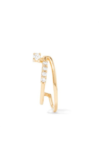 SANSOEURS 18-karat small gold diamond earring