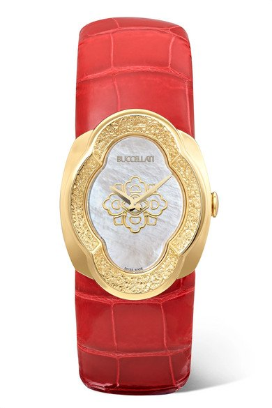 BUCCELLATI Opera 28mm 18-karat gold, alligator and mother-of-pearl watch