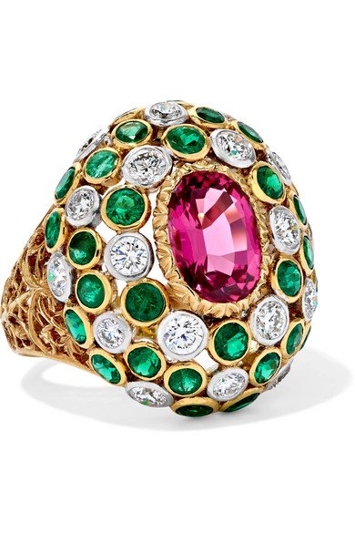 BUCCELLATI 18-karat yellow and white gold multi-stone ring