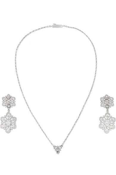 BUCCELLATI 18-karat white gold diamond earring and necklace set