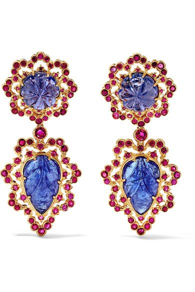 BUCCELLATI 18-karat gold, tanzanite and ruby earrings