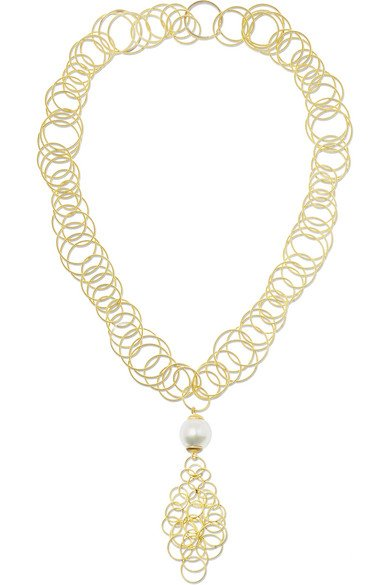 BUCCELLATI Hawaii 18-karat gold pearl necklace