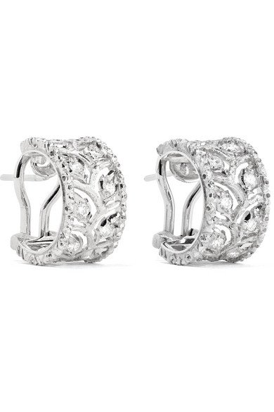BUCCELLATI Ramage 18-karat white gold diamond hoop earrings