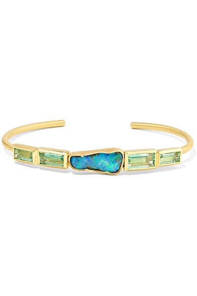 BROOKE GREGSON Ziggurat 18-karat gold, emerald and opal cuff
