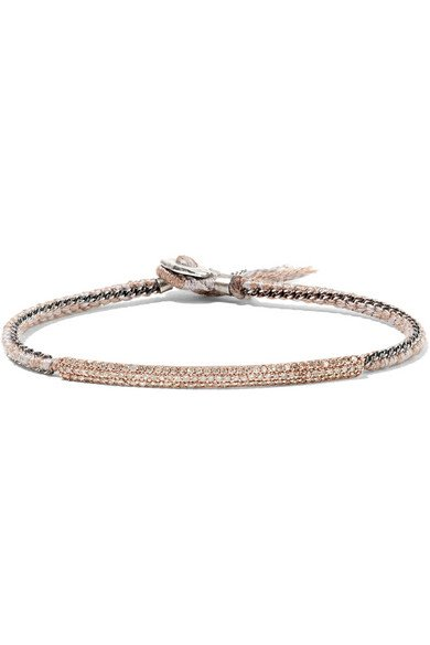 BROOKE GREGSON 14-karat rose gold, sterling silver and diamond bracelet