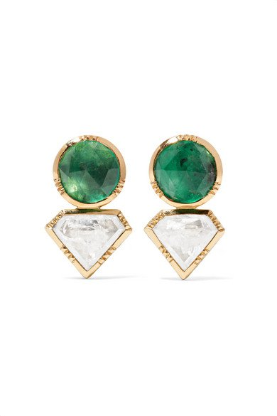 BROOKE GREGSON 18-karat gold, emerald and diamond earrings