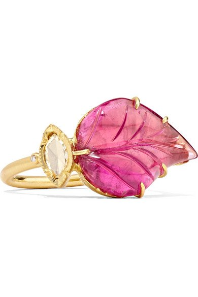 BROOKE GREGSON Maya 18-karat gold, tourmaline and diamond ring