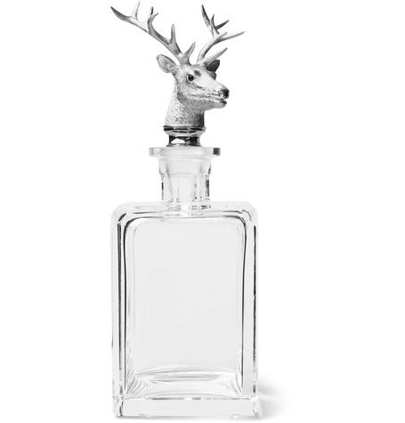 Stag Sterling Silver And Crystal Decanter
