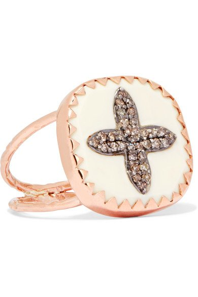 PASCALE MONVOISIN Bowie N°2 9-karat rose gold, sterling silver, diamond and bakelite ring
