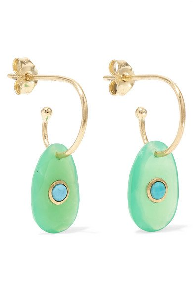 PASCALE MONVOISIN Orso 9-karat rose gold, chrysoprase and turquoise earrings