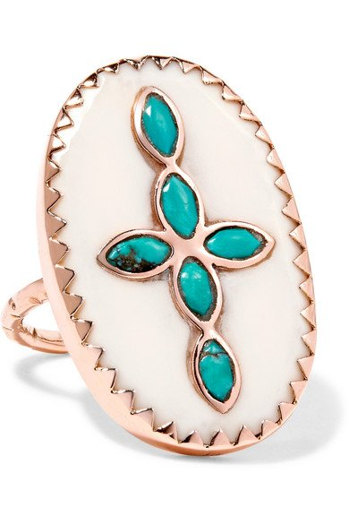 PASCALE MONVOISIN Bowie 9-karat rose gold, turquoise and resin cross ring
