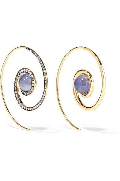 NOOR FARES Spiral Moon 18-karat gold, diamond and iolite earrings