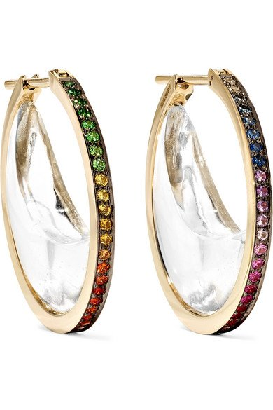 NOOR FARES Chandra Crescent 18-karat gray gold multi-stone hoop earrings