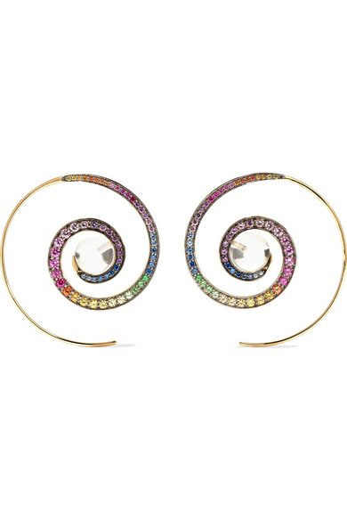 NOOR FARES 18-karat gray gold multi-stone earrings