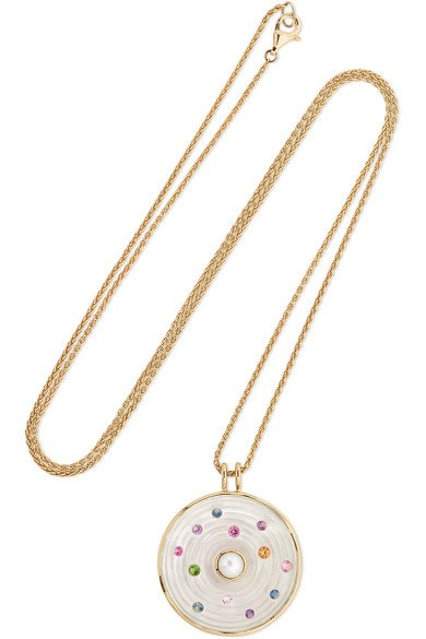 NOOR FARES Akasha 18-karat gray gold multi-stone necklace
