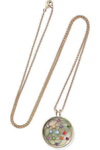 NOOR FARES 18-karat gray gold multi-stone necklace