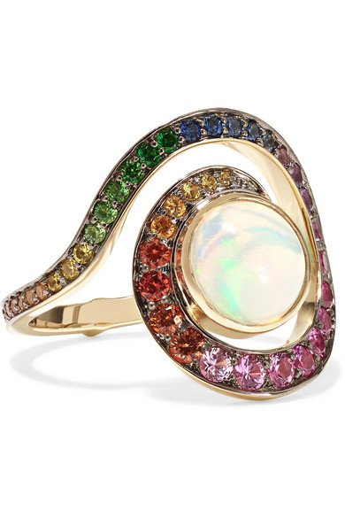 NOOR FARES Planet Spiral 18-karat gray gold multi-stone ring
