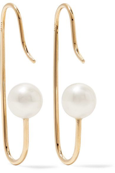 NATASHA SCHWEITZER Mini Marion 9-karat gold pearl earrings