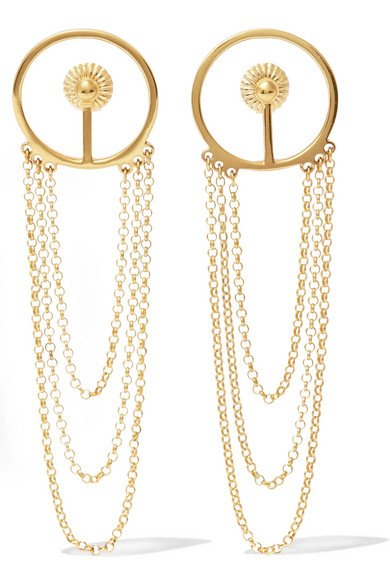 NATASHA SCHWEITZER Bubble 14-karat gold-plated earrings