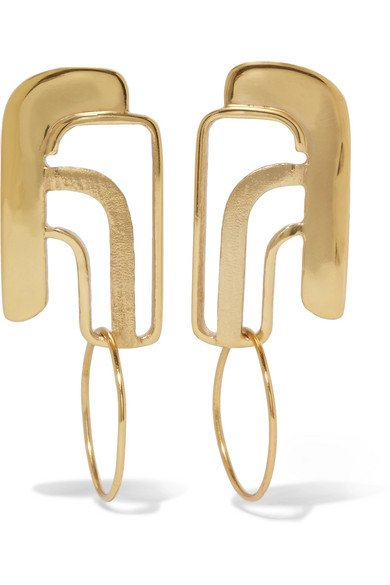 NATASHA SCHWEITZER 14-karat gold-plated earrings
