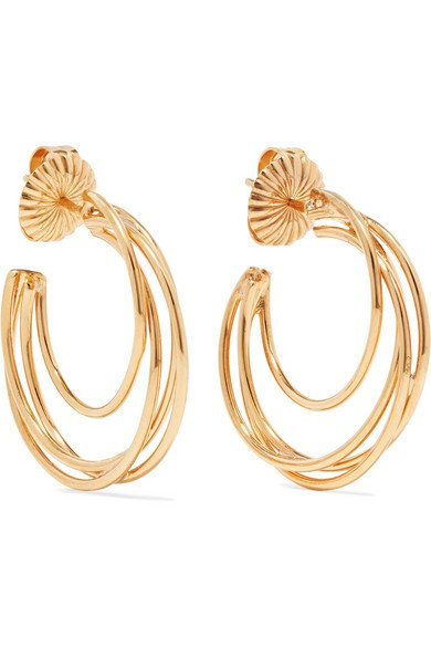 NATASHA SCHWEITZER Lindsey 14-karat gold-plated hoop earrings