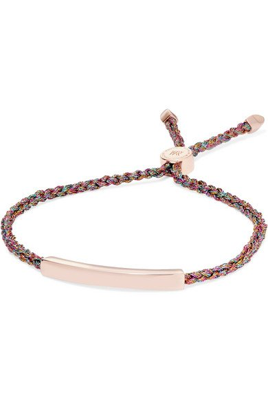 MONICA VINADER Linear rose gold vermeil and metallic woven bracelet